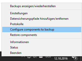 Configure components to backup
