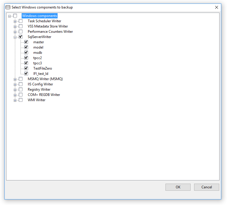 Select components to backup